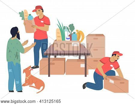Volunteers Donating Food To Homeless And Poor People, Flat Vector Illustration. Homeless Aid, Volunt