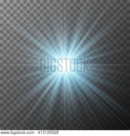 Realistic Blue Starburst Lighting Isolated On Transparent Background. Glow Light Effect. Glowing Lig