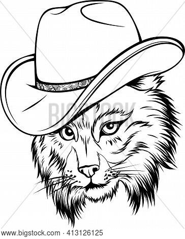 Draw In Black And White Of Wild Cat, Lynx, Bobcat, Trot Hand Top Hat, Cylinder.