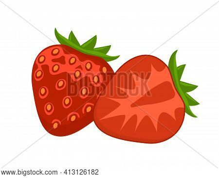 Red Ripe Flat Strawberry Icon. Appetizing Fresh Strawberry. Whole And Cut In Half. Vector Illustrati
