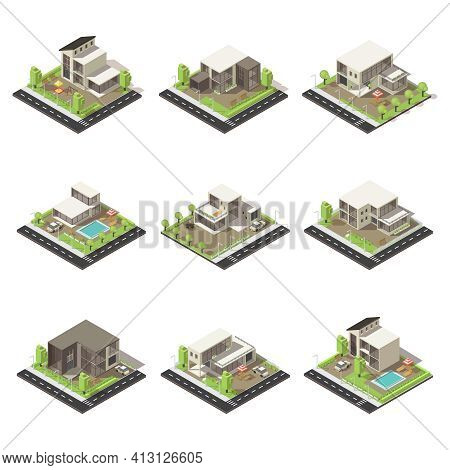 Isometric Cottages And Mansions Set With Suburban Buildings Of Different Architecture Green Trees Po