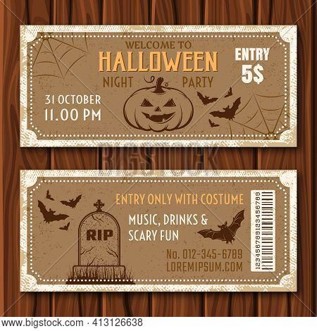 Halloween Party Flyer Of Tan Color With Holiday Attributes And Barcode On Wooden Background Isolated