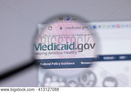 New York, Usa - 18 March 2021: Medicaid.gov Company Logo Icon On Website, Illustrative Editorial