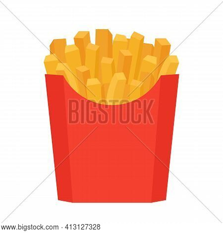 Fastfood Fry Potato In Red Box. French, Fried Meal In Package. Unhealthy Fries Meal. Vector Isolated