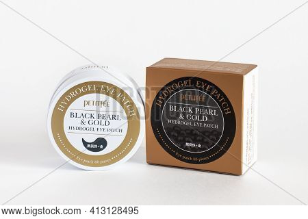 Russia, Rostov-on-don, 05.07.2018 Korean Cosmetics, Petitfee Black Pearl Gold Hydrogel Eye Patch.iso