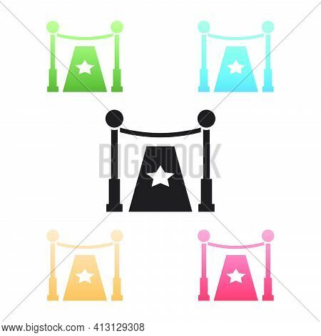 Black Carpet With Barriers And Star Icon Isolated On White Background. Vip Event, Luxury Celebration