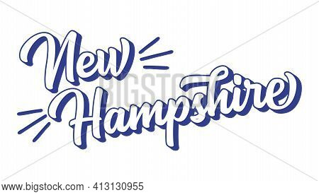 Hand Sketched New Hampshire Text. 3d Vintage, Retro Lettering For Poster, Sticker, Flyer, Header, Ca