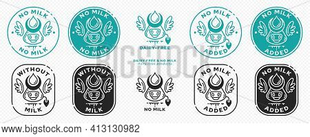 Concept For Product Packaging. Labeling - No Milk. Cow Head Icon With Horns, Milk Drop And Wings - A