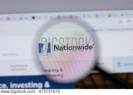New York, Usa - 18 March 2021: Nationwide Mutual Insurance Company Logo Icon On Website, Illustrativ