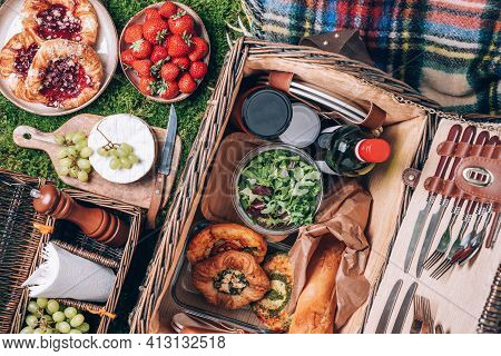 Picnic Set With Fruit, Cheese, Honey, Strawberries, Grapes, Baguette, Wine, Pizza, Salad, Wicker Bas