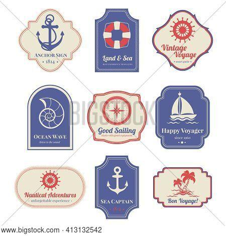 Vintage Nostalgic Nautical Adventures Voyage Travel Agency Old Marine  Decorative Emblems Labels Col