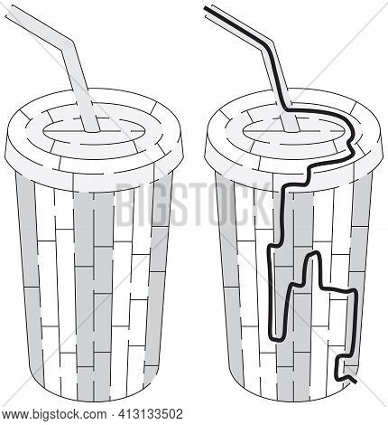 Soft Drink Maze Maze For Kids With A Solution In Black And White