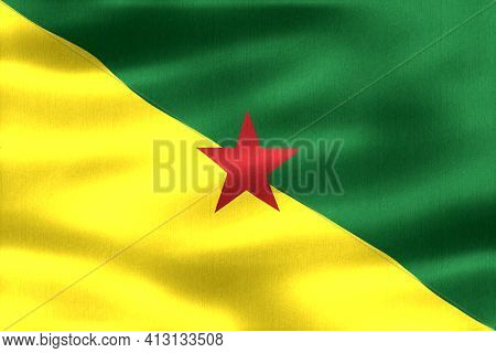 French Guiana Flag - Realistic Waving Fabric Flag