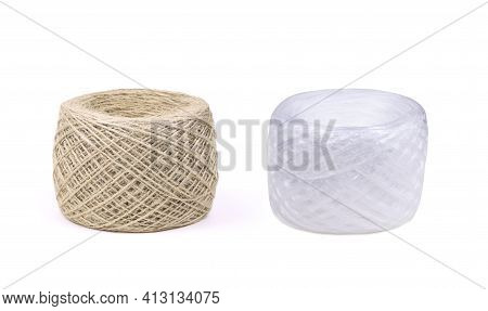 Skeins Of Jute Twine And White Polypropylene Twine Isolated On A White Backgound. Packthread Isolate