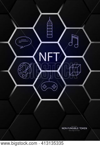 Nft Non-fungible Token Concept On Polygonal Abstract Background. Hexagon Shapes Pattern With Icons A