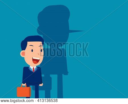Long Nose Of Business Person. A Person Lying