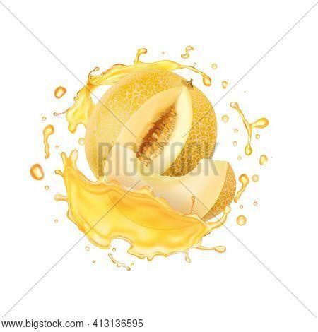 Melon Yellow Fruit, Melon Juice Splash, Vector Icon