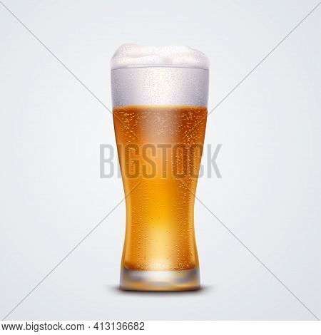 Realistic Glass Of Beer Isolated On White