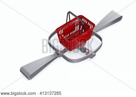 bear trap and red shopping basket on white background. Isolated 3D illustration