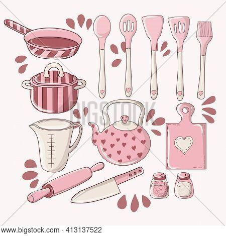 Hand Drawn Color Illustration Kitchen Tools. Set Of Cookware. Vector Illustration. Kitchen Utensils.