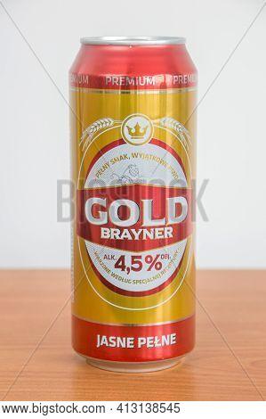 Pruszcz Gdanski, Poland - March 18, 2021: Gold Brayaner Beer.