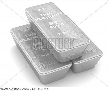 The Highest Standard Platinum Ingots. Three Ingots Of 999.9 Fine Platinum Lie On White Surface. 3d I