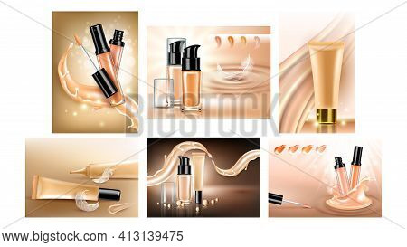 Concealer Cream Promotional Banners Set Vector Illustration