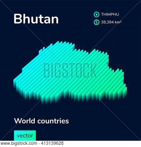 Stylized Neon Digital Isometric Striped Vector   Map  Of Bhutan, With 3d Effect. Bhutan Map Is In Gr
