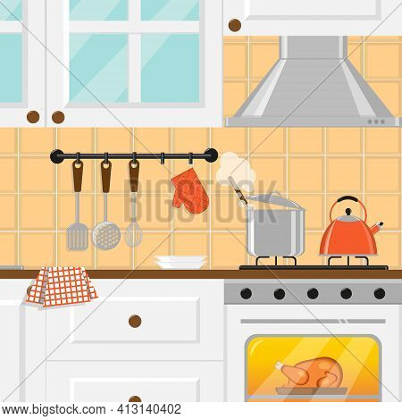 Cozy Kitchen With White Furniture, Cooking Pot, Whistling Kettle On Gas Cooker And Chicken In Oven.