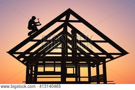 A man builds a house with a hammer.,3d render