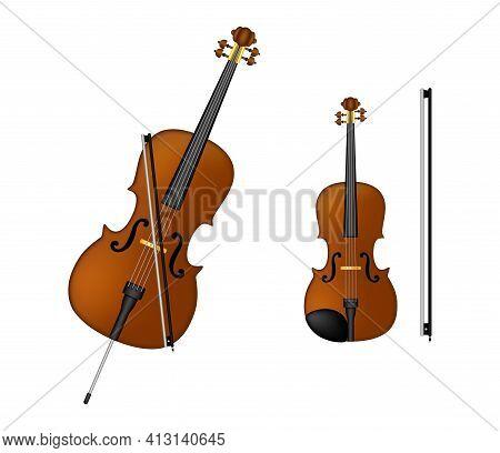 Cello, Violin, Old Technology, Realistic Retro Design Musical Instruments Set