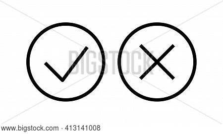 Check Icon Right Wrong Marks And Crosses Signs Set Of Line Vector Mark Buttons.vector Illustration