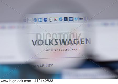 New York, Usa - 18 March 2021: Volkswagen Group Company Logo Icon On Website, Illustrative Editorial