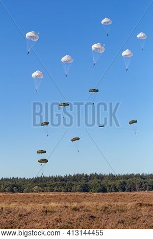 Paratroopers Jumping From Airplane In Remembrance Woii