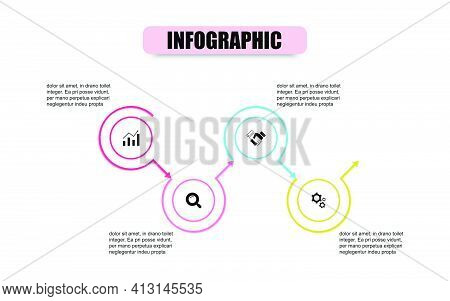 Presentation Business Infographic Template With 4 Options. Vector Circle Design Template Infographic