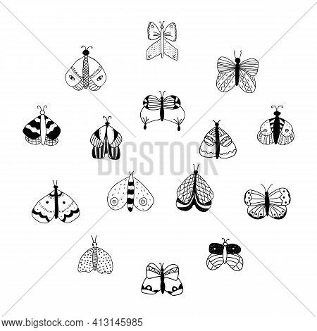 Vector Set Of Black And Simple Isolated Butterflies On White Background. For Invitations, Greeting C