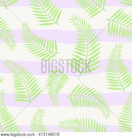 Vector Seamless Pattern With Tropical Leaves Of Palm On Striped Backdrop. For Decoration, Invitation