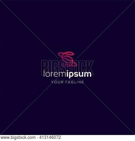 Letter S Monoline Logo Design Element, Abstract Monoline Letter S