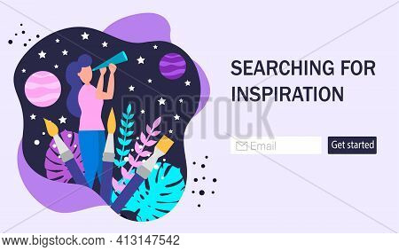 The Concept Of Generating Ideas And Inspiration. Creative Or Educational Process Banner, Advertiseme
