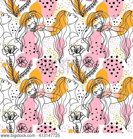 Woman Face Continuous Line Drawing, Modern Seamless Pattern Vector