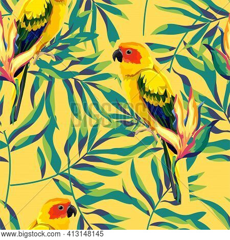 Pattern With Beautiful Parrots And Tropical Leaves. Birds Background Vector Illustration.