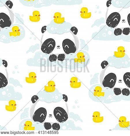 Take A Bath Panda Bear Hand Drawn Cute Rubber Yellow Duck Pattern Seamless Vector Illustration Child