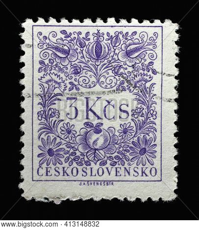 ZAGREB, CROATIA - SEPTEMBER 18, 2014: Stamp printed in Czechoslovakia shows Numbers Value, Postage Due Stamps series, circa 1954