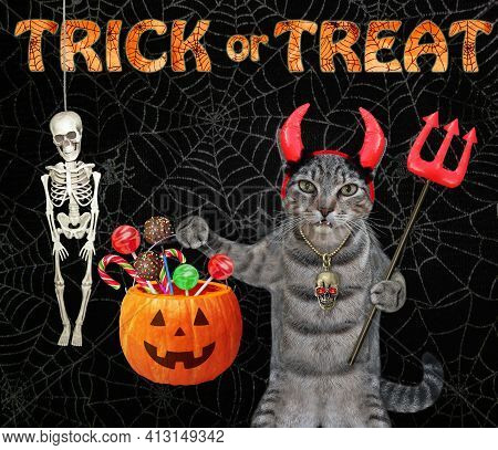 A Gray Cat In Horns Is Holding A Devil Trident And A Pumpkin Pail At A Skeleton For Halloween. Black