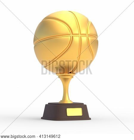 Realistic Golden Basketball Trophy Cup Isolated On White Background. Sport Tournament Award, Gold Wi