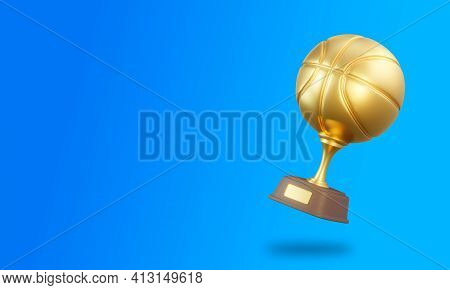 Basketball Trophy Cup On Blue Background. Sport Tournament Award, Gold Winner Cup And Victory Concep