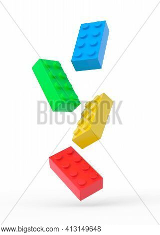 Colorful Plastic Toy Building Blocks On White Background. 3d Rendering Illustration
