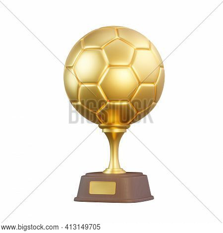Golden Football Trophy Cup Isolated On White Background. Sport Tournament Award, Gold Winner Cup And