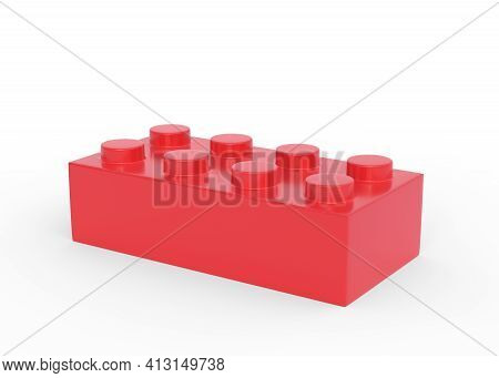Red Plastic Toy Building Block Isolated On White Background. 3d Rendering Illustration