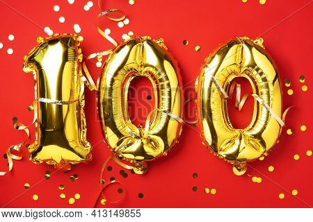 Gold Foil Balloon Number, Digit One Hundred. Birthday Greeting Card With Inscription 100. Anniversar